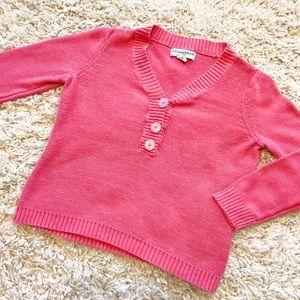 Vintage Sag Harbor Bright Pink 1/4 Button Sweater